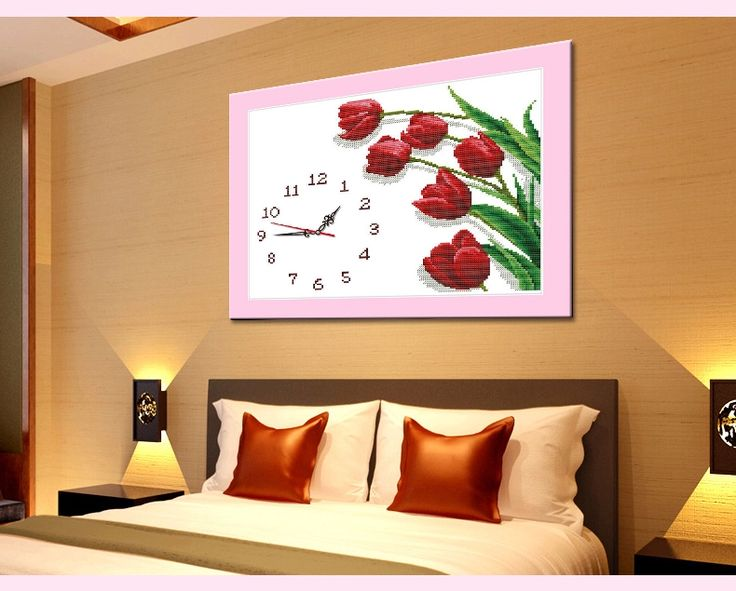 Печатные узоры висит часы тюльпан Счастливый мультфильм часы просто спальня Гостиная живописи ряд новых малых - Taobao