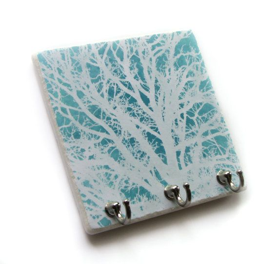 Aqua Blue Coral Key Hook, Tropical Wall Decor Key Rack, Key Holder, Decorative Tile Wall Hooks, Jewelry Organizer (56)