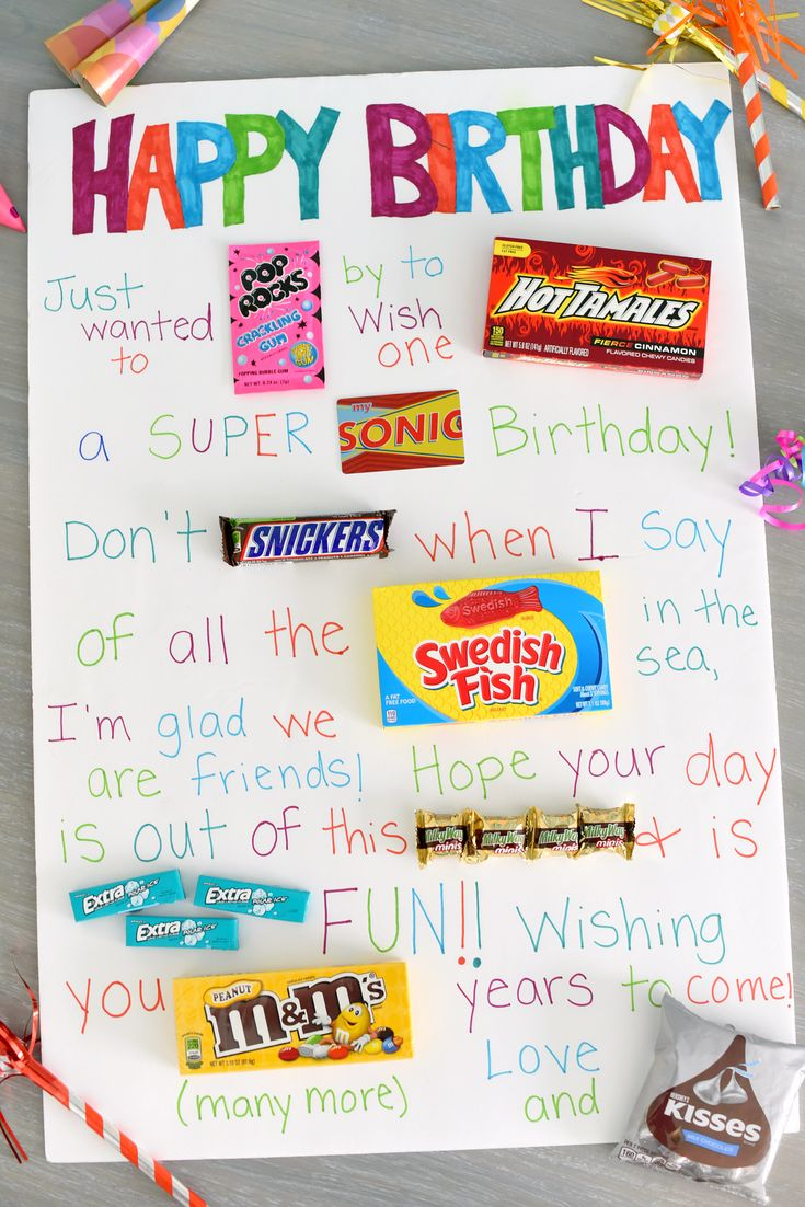 Fun & Simple Candy Poster for Friend's Birthday Birthday