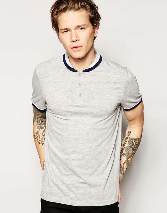 ASOS | Polo Shirt With Shawl Collar And Tipping #asos #polo #shirt