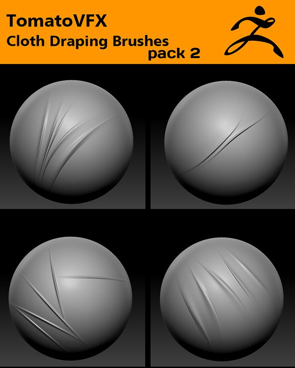 TomatoVFX - Cloth Draping Brushes Pack 2 for ZBrush by Tomato VFX