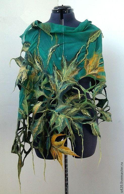 """Купить Валяный палантин """"Эльфийская принцесса"""" - зеленый, цветочный, палантин, валяный шарф, нуновойлочный палантин"""