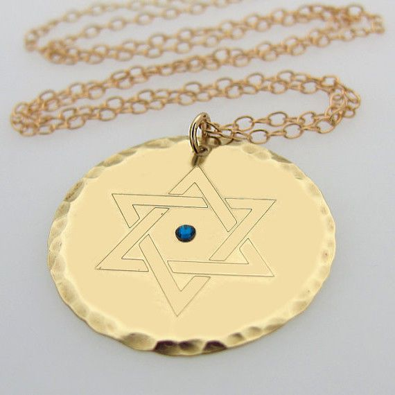 Engraved Gold Star of David Pendant - Personalized Jewish Jewelry - Hebrew Engraved Disc #NadinArtDesign #Pendant