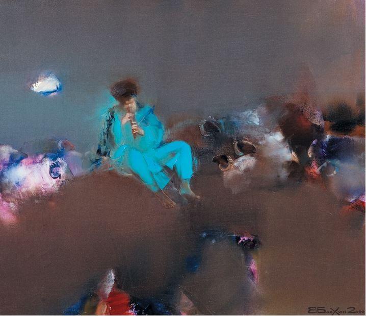 Валерий Блохин. Яркая живопись на грани абстракции. Армянский дудук. Пастух. 60х70 холст масло