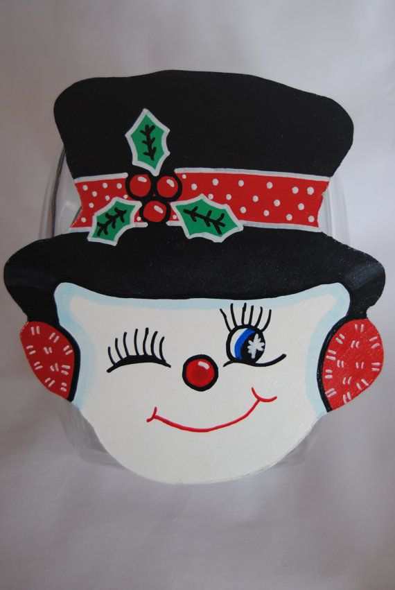 Snowman Cookie Jar Lid Hand Painted Christmas by MTDesignsCrafts, $20.00