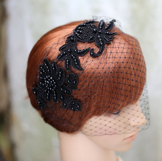 Black Birdcage Veil With Lace Bridal Bridesmaid by JerseyBride