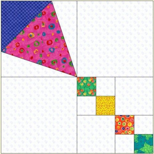 "Uncommon Threads Quilt Guild- Kites Block of the Month March 2006. Here's an easy kite block I drew in EQ, for the breezy month of March. Paper piece body of kite or appliqué and make your own design of kite, 12 1/2"" square, unfinished. No EQ5 than draw the kite. With a variety of fabrics you can make a nice scrappy quilt or wall hanging for any age."