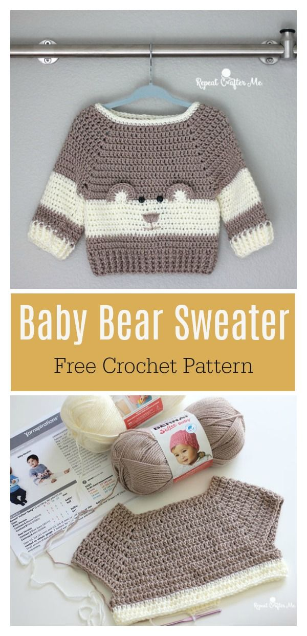 Baby Bear Sweater Free Crochet Pattern Kid Stuff Pinterest
