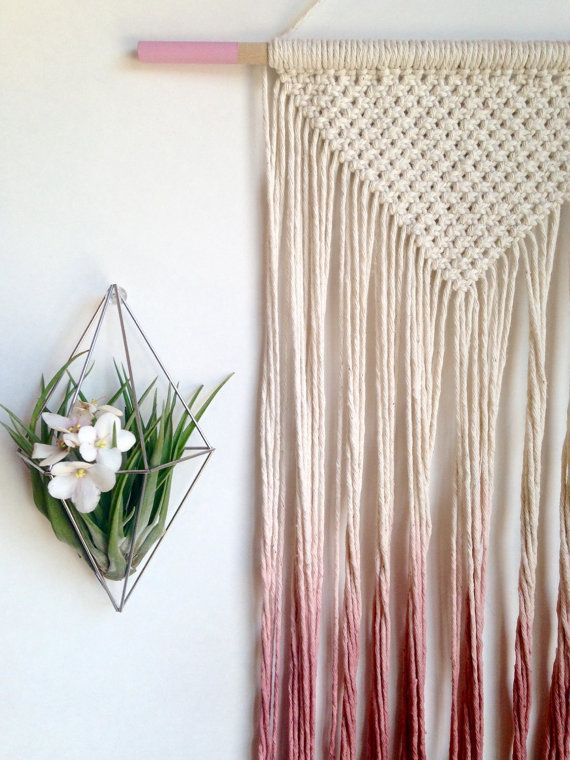 Macrame wall hanging dip dyed ombre in wine red by Rowanstudios