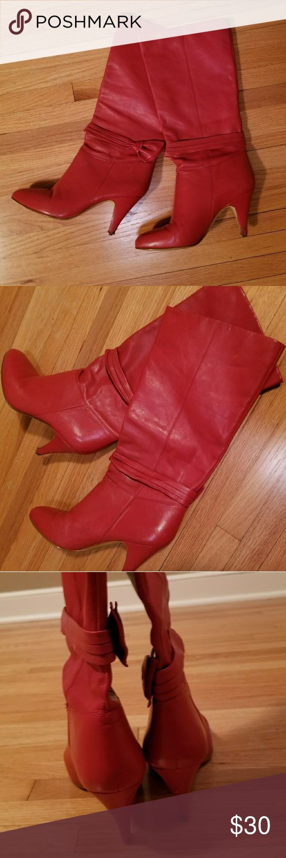 Bright red heeled boots Wore these for the perfect Cruella Deville costume. Leat…