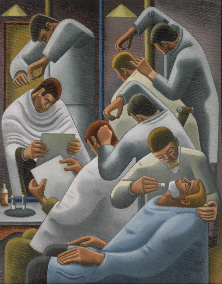 "William Roberts (1895-1980) ""The Barber's Shop"", 1946 British painter"