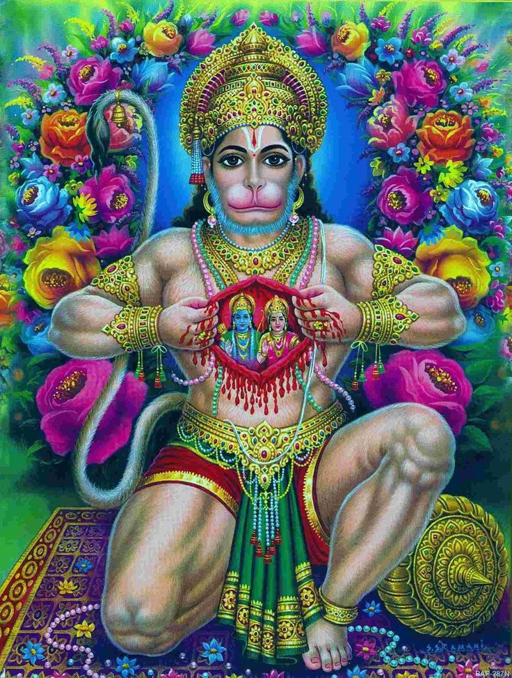 Hanuman :: opening his chest to show that ram (Sita & Rama) were part of him, written on every cell