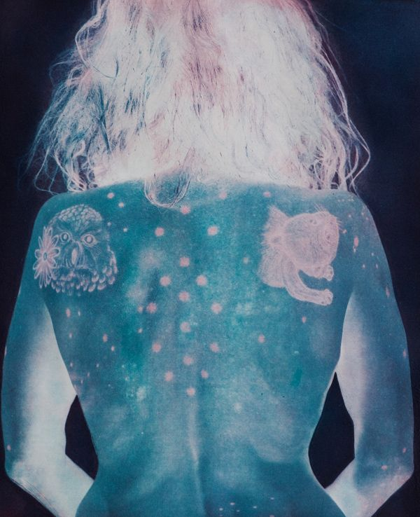 'Image of Kiki Smith's back - by Valerie Hammond, 'apports', 4-color photogravure, 20 x 16 inches, 2012. SCAD permanent collection. Print created at SCAD Atlanta. Courtesy of Valerie Hammond.'