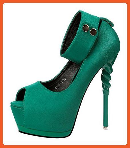 Passionow Women's Sexy Super High Stilettos Heel Ankle Strap Peep Toe Suede Platform Suede Pumpss (7.5 B(M)US,Green) - Pumps for women (*Amazon Partner-Link)