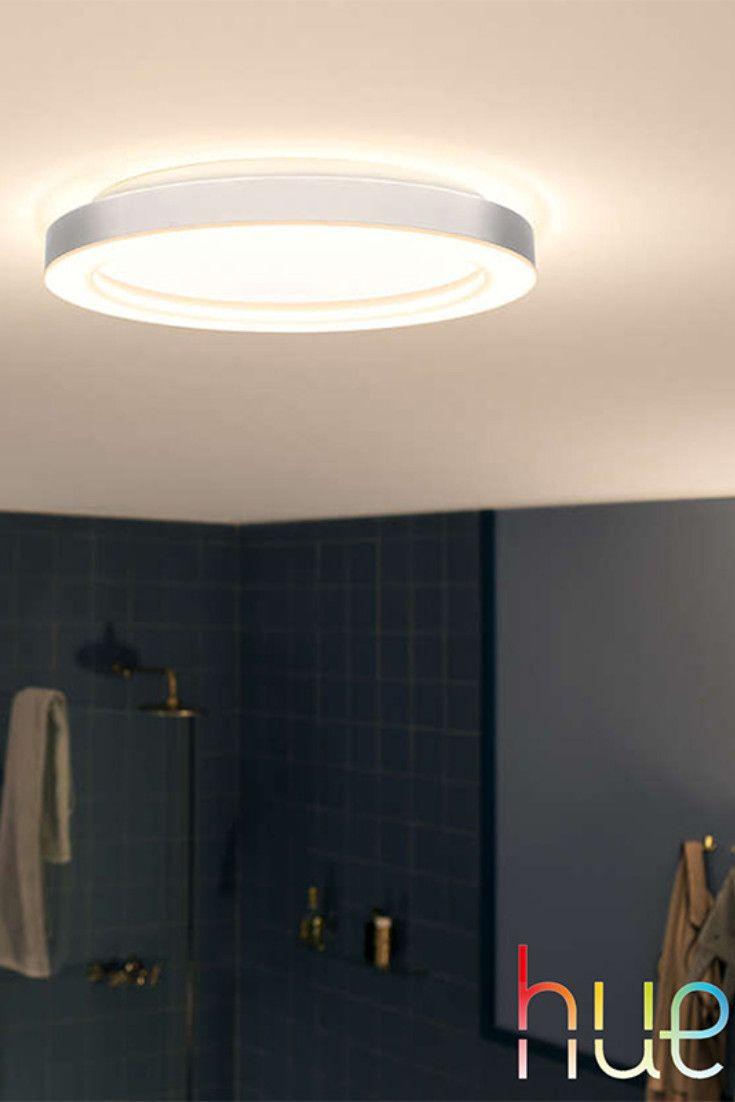 Philips Hue White Ambiance Adore Mit Der Led Deckenleuchte Samt Dimmschalter Konnen Sie Im Badezimme Badezimmer Deckenleuchte Led Deckenleuchte Deckenleuchten