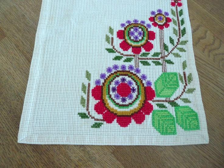 Vintage Flowery Swedish Cross Stitch.