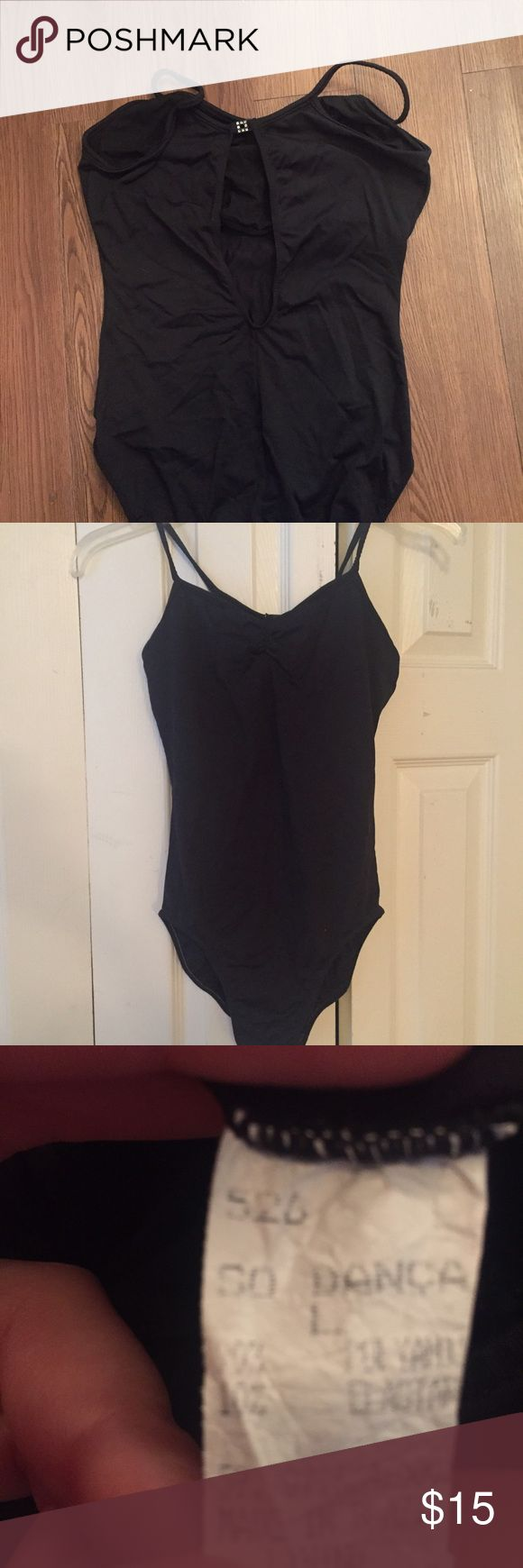 Gorgeous dance Leotard Black dance leotard with open back design. Size large. Ballet and jazz shoes for sale in separate listings. So Danza Other