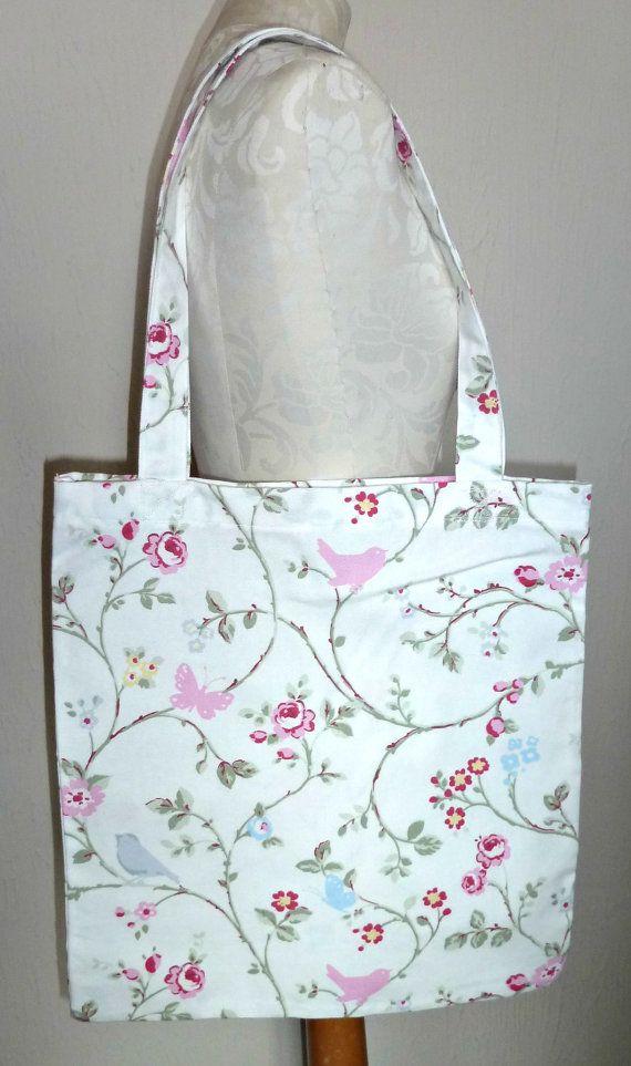 £6.99 Handmade Shopping Bag Bird trail birds by KelwayCraftsYorkshir clarke & clarke bird trail