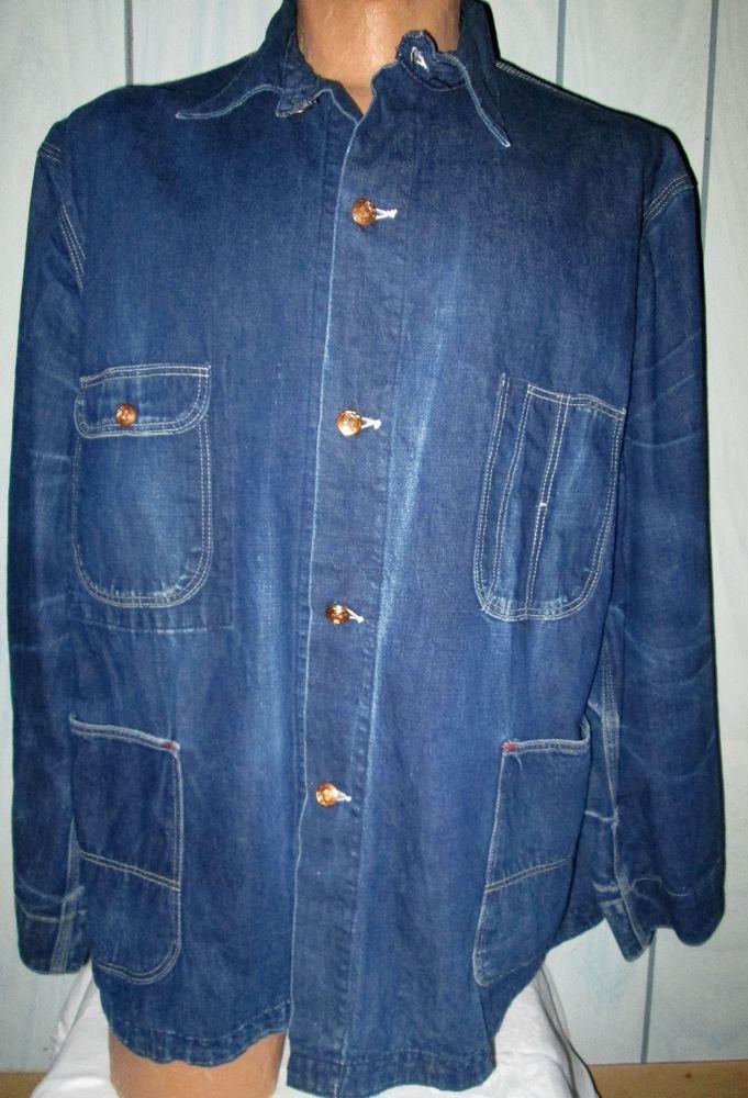 Vintage Indigo Denim Chore Engineer Work Jacket Lee ? 1940's Large XL  #Unbranded #WeartoWork