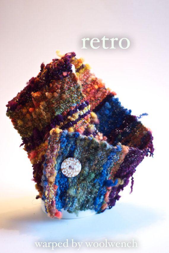 Chunky Saori Cowl or Neckwarmer - Handspun and Woven Art Yarn - Fall Shades - Retro