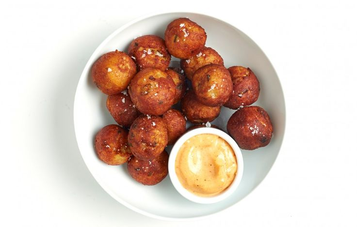 """""""Tater Tots"""" with Spicy Mayonnaise Recipe - Bon Appétit - sub in gluten free breadcrumbs and voila!"""