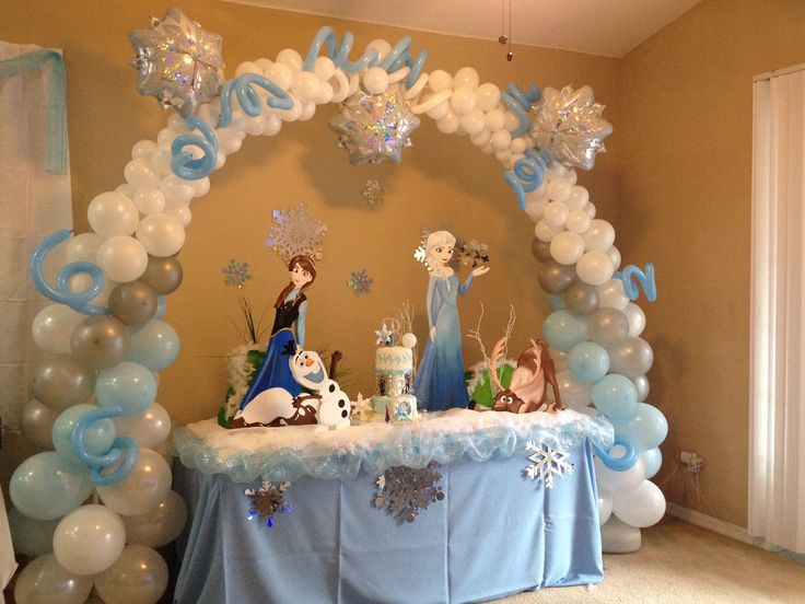 Frozen elsa anna olaf decorations for your main table for Home decorations with balloons