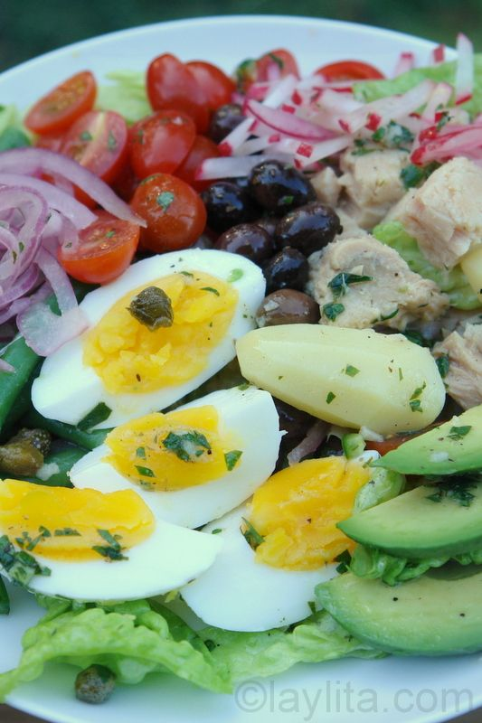 Nicoise salad with avocado slices, lime marinated onions and a spicy serrano cilantro vinaigrette. Works great for the #FastMetabolismDiet if you swap jicama or fennel for the potato.