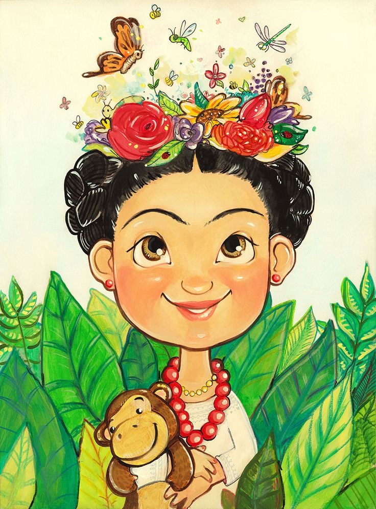Ilustração da pintora mexicana Frida Calo - (Frida at Age Eight | Summer Rose Morrison | Children's Illustration Portfolio)