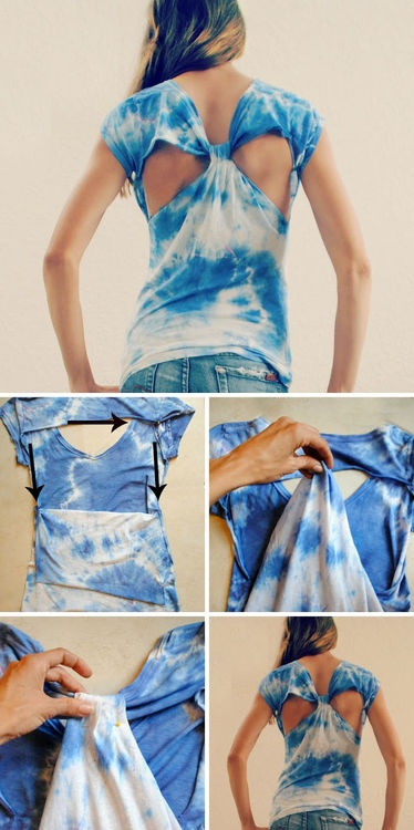 DIY Cut out back tshirt - cute idea