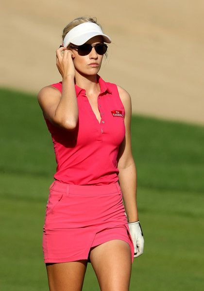 Paige Spiranac Photos Photos - Paige Spiranac of the United States plays her second shot at the 14th hole during the delayed second round of the 2016 Omega Dubai Ladies Masters on the Majlis Course at the Emirates Golf Club on December 9, 2016 in Dubai, United Arab Emirates. - Omega Dubai Ladies Masters - Day Three
