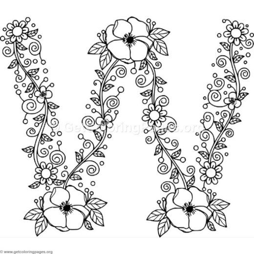 Floral Alphabet Coloring Pages Flower Getcoloringpages Org
