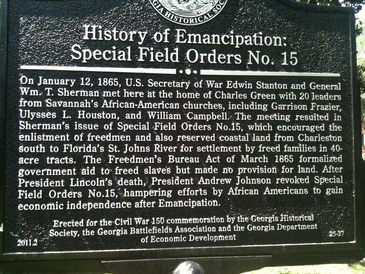 Special Field Order 15 Historical Marker Savannah Ga Chapter 12