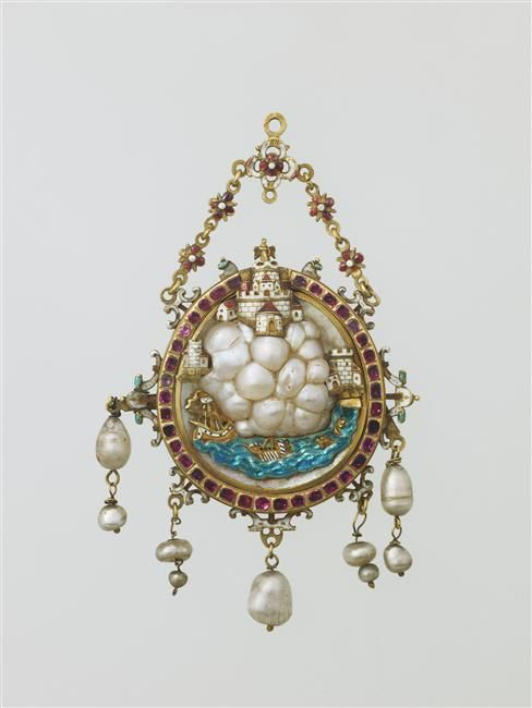 Pendant: rocks and castle -  17th century.  Baroque pearl , émail sur ronde-bosse d'or , mother-of-pearl (material) , ruby. Italy. | Photo (C) RMN-Grand Palais (musée du Louvre) / Martine Beck-Coppola
