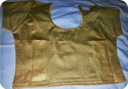 rich gold stretch readymade blouse in princess seam