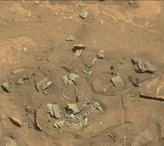 """14 августа 2014 года камера MastCam с марсохода Curiosity сделала настолько любопытный снимок, что он сразу привлек к себе внимание общественности, особено тех, кто давно утверждал, что на Марсе """"не все чисто"""" и там обитали или обитают живые существа. Дело в том, что один из камней на этом фото поразительно похож на  бедренную кость какого-то живого существа."""