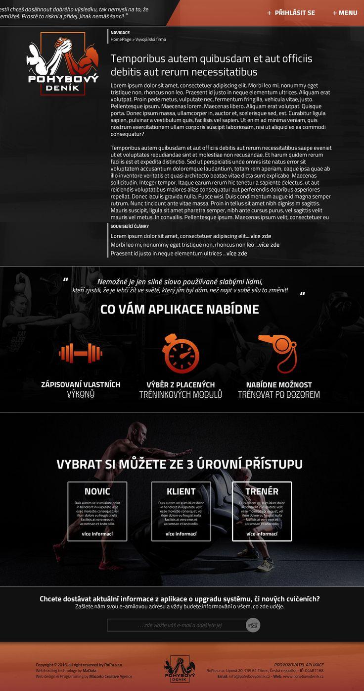 Web design prezentační stránek projektu Pohybový deník. on Behance