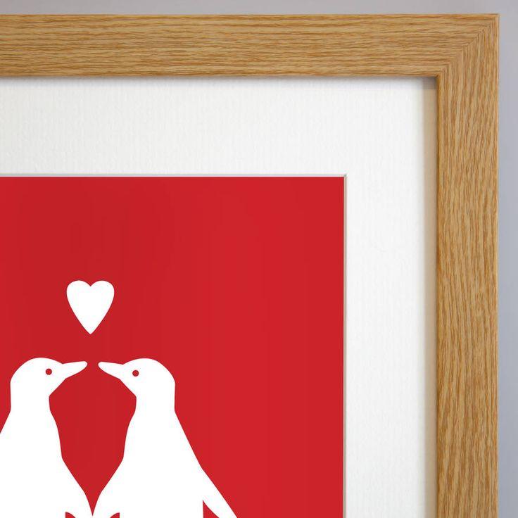 Artwork in Velvety Red in a medium Solid Oak Frame