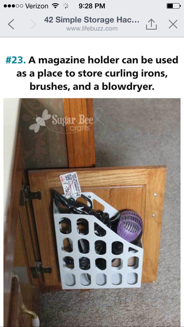 Bathroom straitened, blow dryer storage