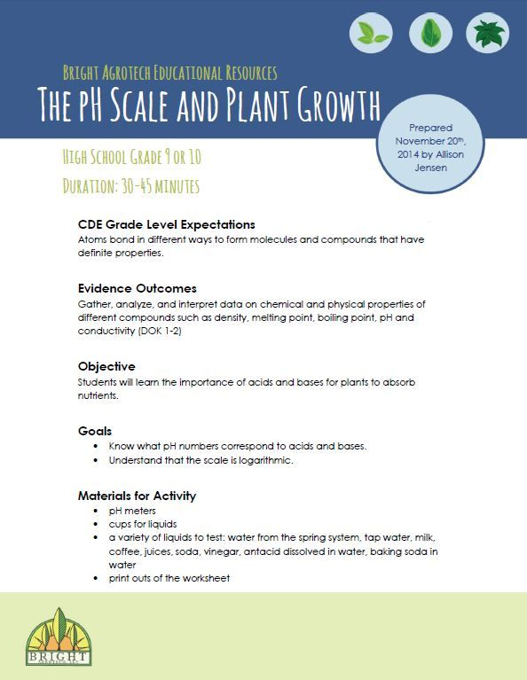 The Ph Scale And Plant Growth Lesson Plan From Bright Agrotech