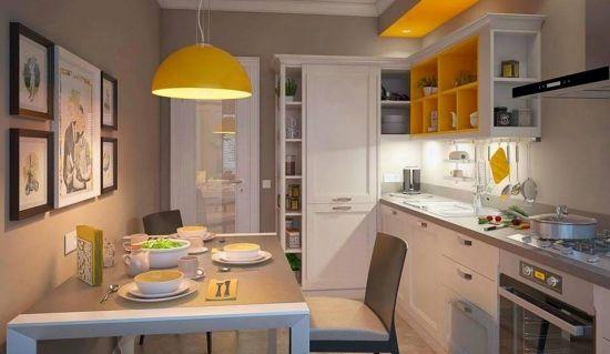 Bucatarie de apartament cu mobila alba si camara