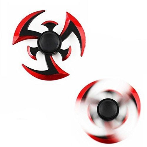 Wensltd Aluminium Alloy Tri-Spinner Fidgets Toy Stress Reducer Relieve Anxiety and Boredom (Red)