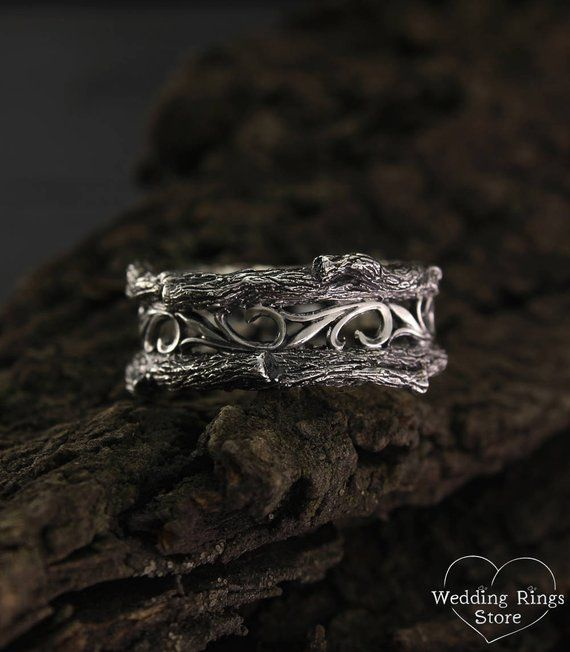 Mens Vintage Style Tree Band Unique Tree Silver Wedding Band Men S Branch Wedding Ring Mens Tree Bark Ring Wide Silver Ring Silver Band Silver Wedding Bands Wide Silver Ring Wedding Rings