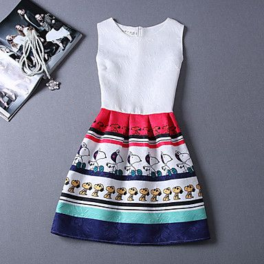 Sha.Mei Women's Casual/Print/Party Round Sleeveless Dresses (Polyester) – USD $ 13.99