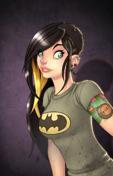 Batgirl style... I will be this girl right here.. just with one blue and one brown eye... there's a surgery for that now. It's so gonna happen.
