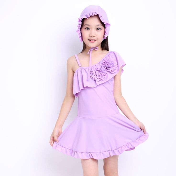 2016 Summer Baby Girls Swimwear one piece swimsuit swimming suit for kids bathing suits kids swimwear with cap