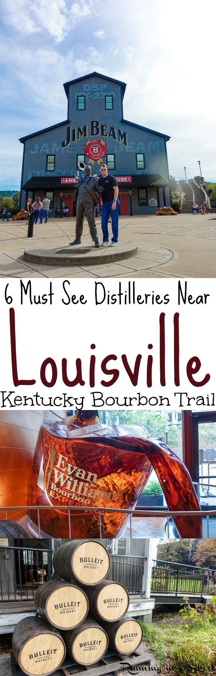 Kentucky Bourbon Trail- 6 Must See Distilleries Near Louisville.  Things to do if you love bourbon and are staying in Louisville including Jim Beam, Angel's Envy, Bullet, Evan Williams and Four Roses. Learn history and taste them all.  Move this to the top of your bucket lists trips! / Running in a Skirt