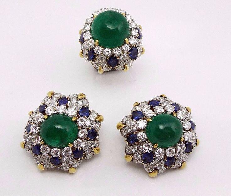 David Webb 18K Gold Platinum Diamond Sapphire Cabochon Emerald Earrings Sets  #DavidWebb