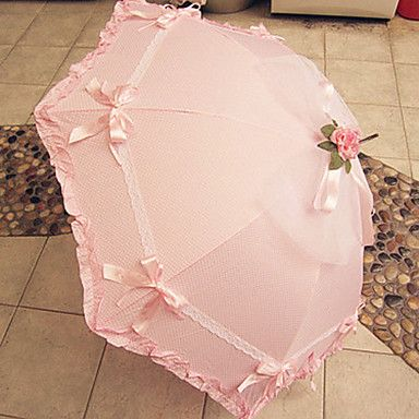 Pink Ruffled Trim Sweet Lolita Umbrella with Lace and Bow