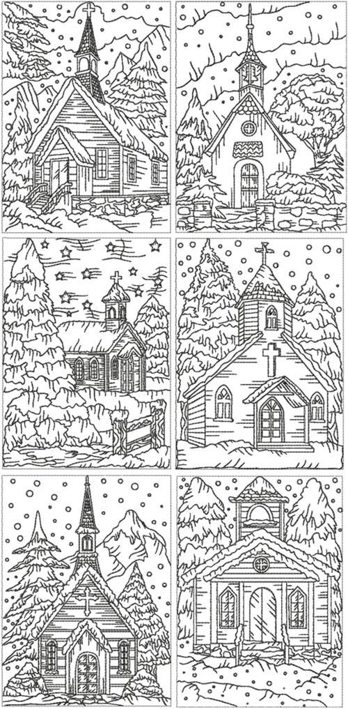Advanced Embroidery Designs - Redwork Christmas Church Set