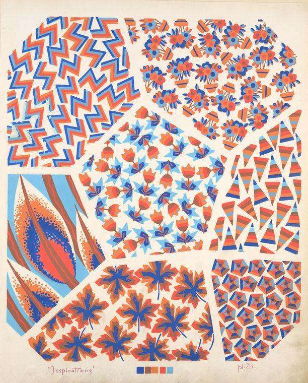 [Seven compositions : plant life and geometric.] Durenceau, André, 1904. Art nouveau